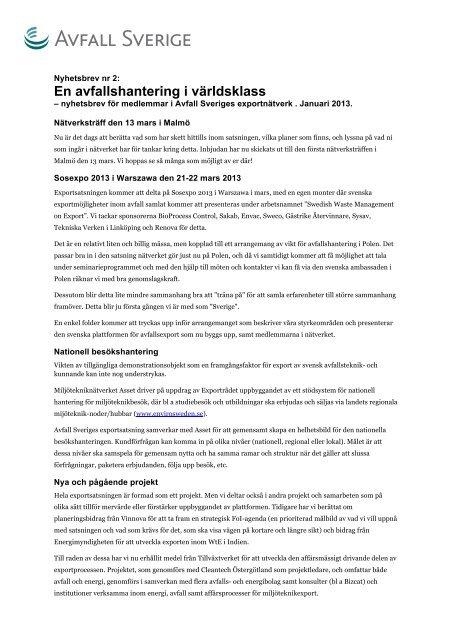 Nyhetsbrev nr 2 - Avfall Sverige