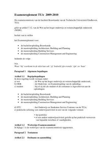 Examenreglement TU/e 2009-2010 - Technische Universiteit ...