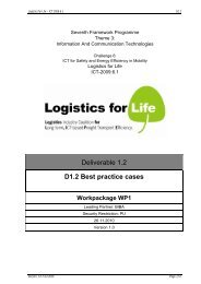Deliverable 1.2 D1.2 Best practice cases - Logistics for Life