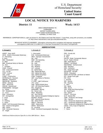 Local Notice To Mariners lnm11142013 - Dana Point Boaters ...