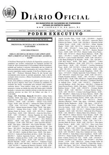 Diário Oficial nº 3.088 - 07 de Fevereiro (Quinta-feira) - 64Kb