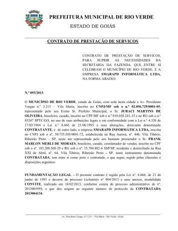 contrato de prestação de serviços - Prefeitura de Rio Verde