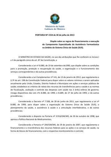 Ministério da Saúde Gabinete do Ministro PORTARIA Nº 1554 de 30 ...