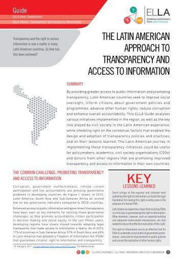 THE LATIn AMErIcAn ApproAcH To TrAnspArEncy And ... - ELLA