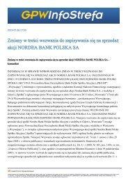 Zapisy w ramach wezwania na akcje spółki Nordea Bank Polska S.A.