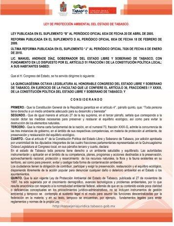 Ley de Protección Ambiental del Estado de Tabasco