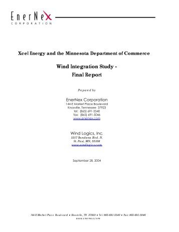 Wind Integration Study - Final Report - Utility Variable Generation ...