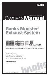 Installation Instructions - Bankspower - Banks Power
