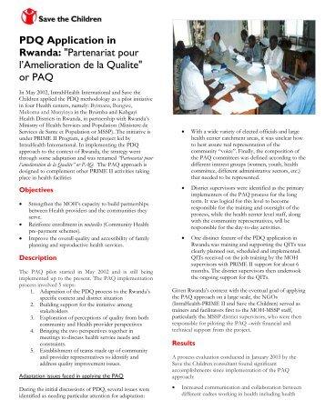 """PDQ Application in Rwanda: """"Partenariat pour l ... - CORE Group"""