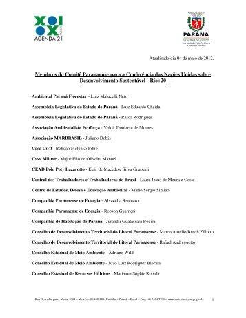 Membros do Comitê Paranaense para a Conferência das Nações ...