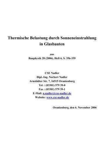 Thermische Belastung durch Sonneneinstrahlung in ... - Cse-nadler.de