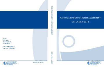 national integrity system assessment sri lanka 2010 - Transparency ...