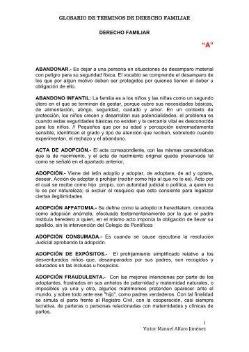 GLOSARIO DE DERECHO FAMILIAR - Páginas Personales UNAM