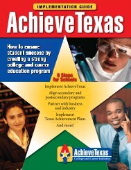 How to ensure student success by creating a strong ... - Achieve Texas