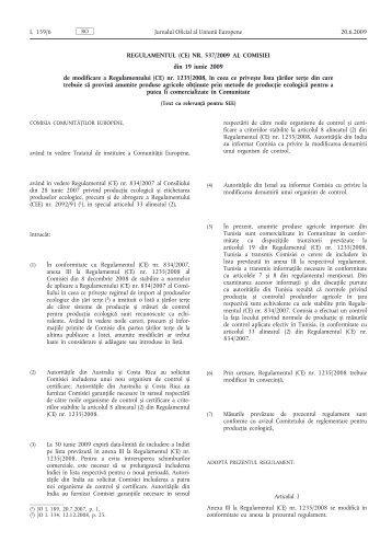 Regulamentul (CE) nr. 537/2009 al Comisiei din 19 iunie ... - MADR