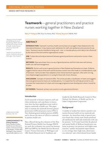 Teamwork—general practitioners and practice nurses working ...
