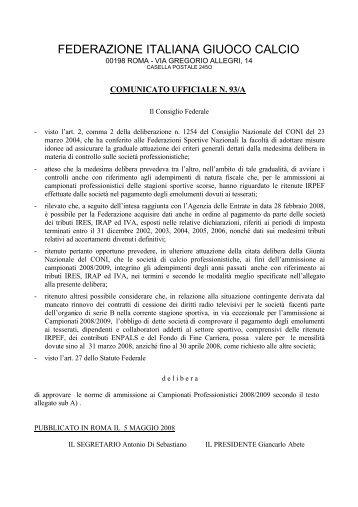 FEDERAZIONE ITALIANA GIUOCO CALCIO - Diritto Calcistico