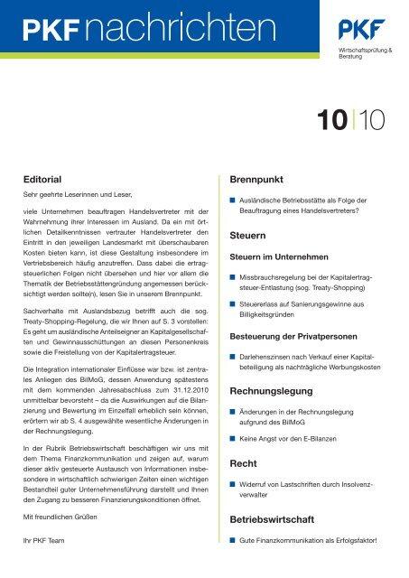 PKF Nachrichten 10/2010