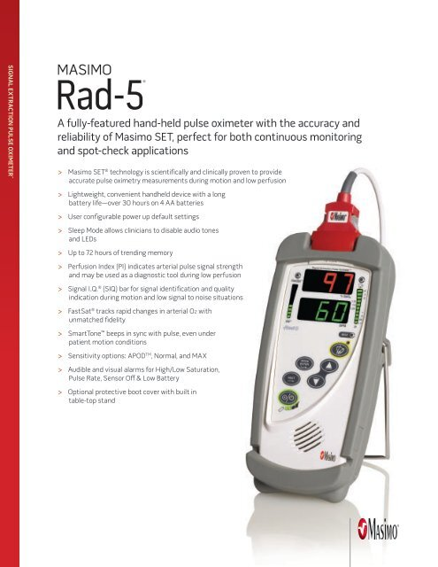 Single Page Brochure: Masimo Rad-5