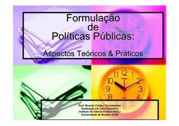 Formulação de Políticas Públicas: - Sebrae