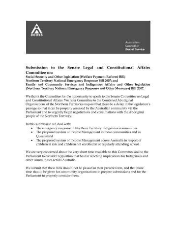 Submission to Senate Committee Inquiry into NTER Bills 2007