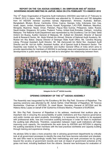 1 REPORT ON THE 12th ASOSAI ASSEMBLY, 5th SIMPOSIUM ...