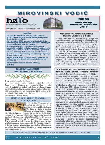 M I R O V I N S K I V O D I Č - Hrvatski zavod za mirovinsko osiguranje