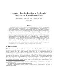 Inventory-Routing Problem in Sea Freight - The Logistics Institute ...