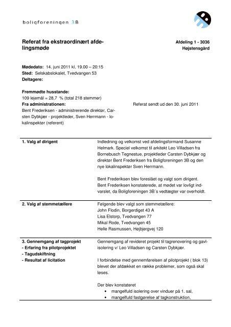 14.06.2011 Referat fra ekstra ordinært afdelingsmøde