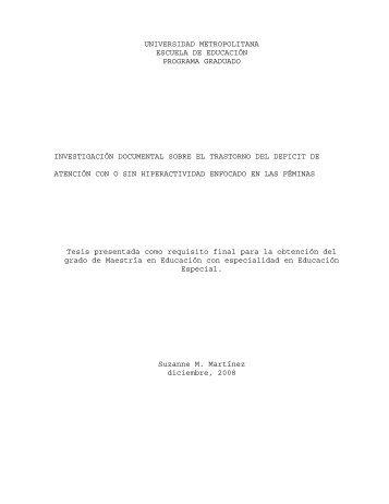 Investigación documental sobre el trastorno del deficit de atención ...