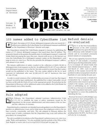Volume 21 Number 3 - Louisiana Department of Revenue