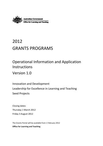 2012 GRANTS PROGRAMS - Office for Learning and Teaching