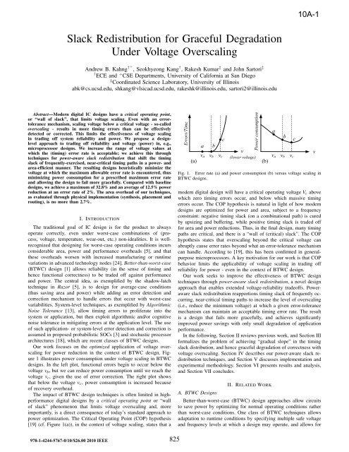 Slack redistribution for graceful degradation under voltage overscaling