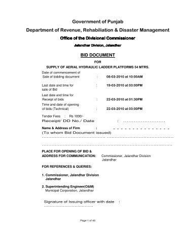 Government of Punjab Department of Revenue, Rehabiliation ...