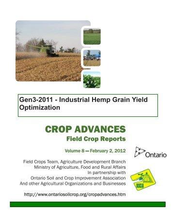 Industrial Hemp Grain Yield Optimization - Ontario Soil and Crop ...