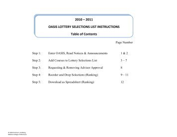 2010 – 2011 OASIS LOTTERY SELECTIONS LIST INSTRUCTIONS ...