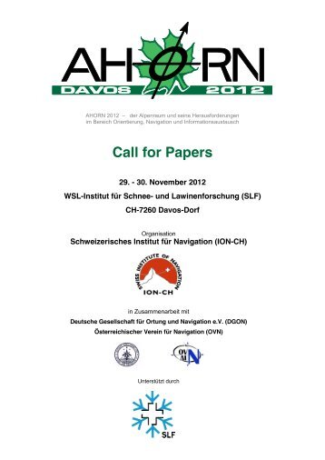 f5ad1ee3c22 Call for Papers - Swiss Institute Of Navigation    ION-CH