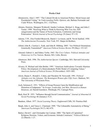 """1 Works Cited Abramowitz, Alan I. 1997. """"The ... - Sites at Lafayette"""