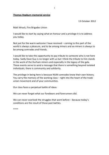 Tommy Hepburn notes - Fire Brigades Union