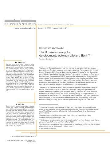 The Brussels metropolis: developments between ... - Brussels Studies