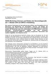 NGFN Workshop Chancen und Risiken der Genomdiagnostik am 1 ...