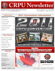 2011 Convention Information - Canadian Racing Pigeon Union