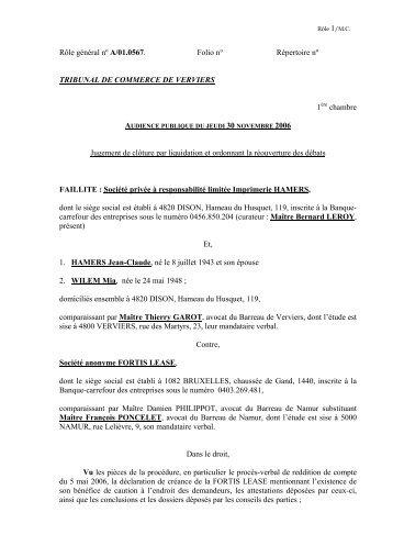 S.A. FORTIS LEASE (Fte SPRL Imprimerie HAMERS) - Juridat