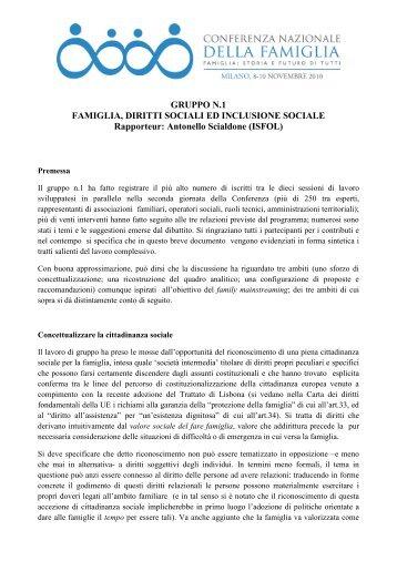 GRUPPO N.1 FAMIGLIA, DIRITTI SOCIALI ED INCLUSIONE SOCIALE ...