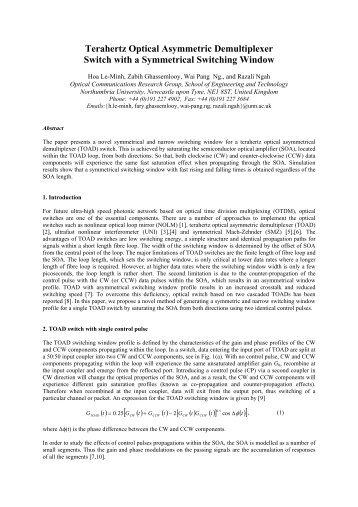 Terahertz Optical Asymmetric Demultiplexer Switch with a ...
