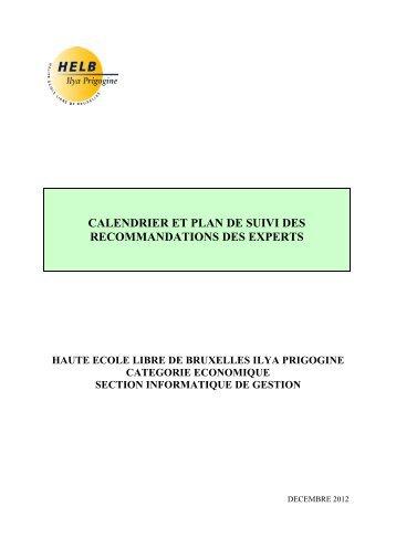 Plan de suivi Informatique HELB Prigogine - Agence pour l ...