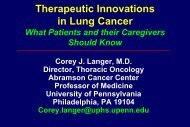 Therapeutic Innovations in Lung Cancer - Abramson Cancer Center