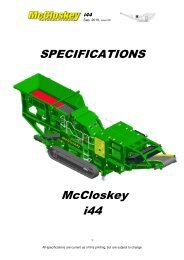 SPECIFICATIONS McCloskey i44 - Best Machinery Kft.