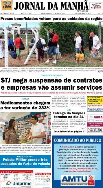 STJ nega suspensão de contratos e empresas ... - Jornal da Manhã