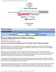 America Ships Electronic Waste Overseas: Financial News - Yahoo ...